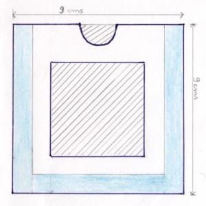 Encoller les parties en bleu du second carré et assembler le tout.