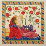 Tempera sur papier aquarelle 18X18 Ce manuscrit allemand du XIVe siècle rassemble des poésies exaltant l'amour courtois et compte 137 miniatures pleine page.