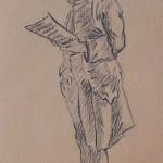 Jeune homme lisant d'après Hubert Robert