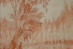Couple de pêcheurs et promeneurs au bord d'une rivière d'après Hubert Robert013