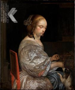 Eglon van der Neer Jeune femme et son chien de manchon