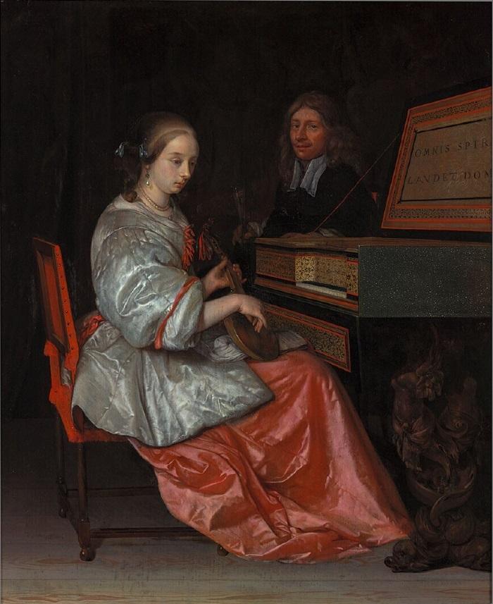 Eglon van der Neer Femme au virginal, un cistre sur les genoux
