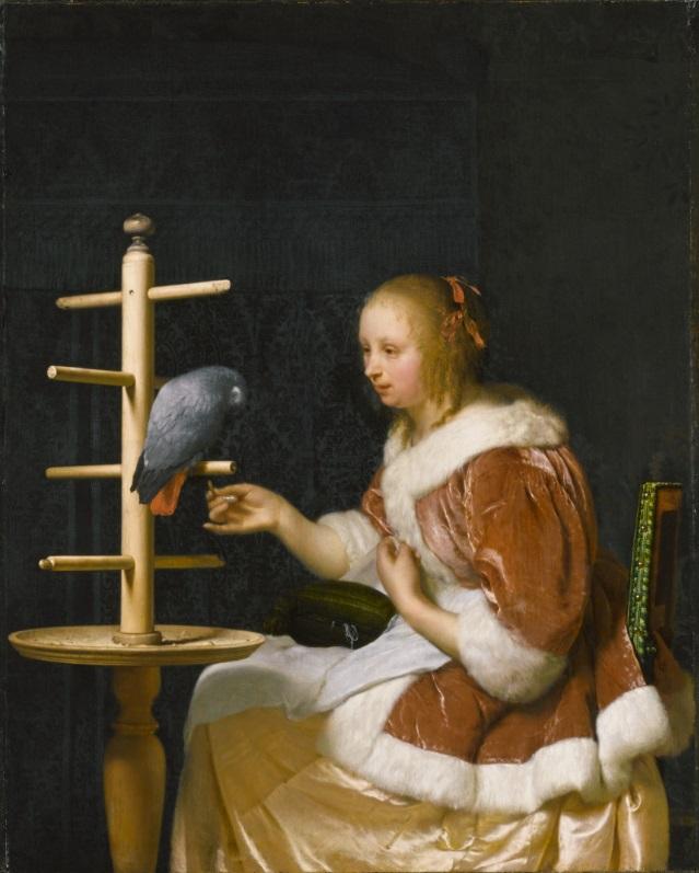 Frans van Mieris Femme au perroquet