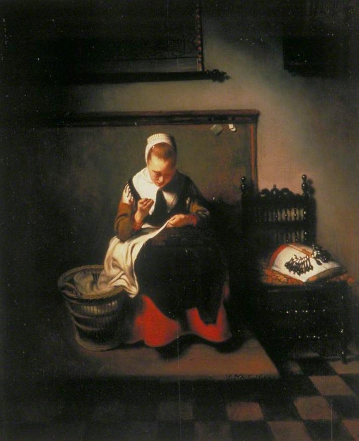 Nicolaes Maes Femme à sa couture