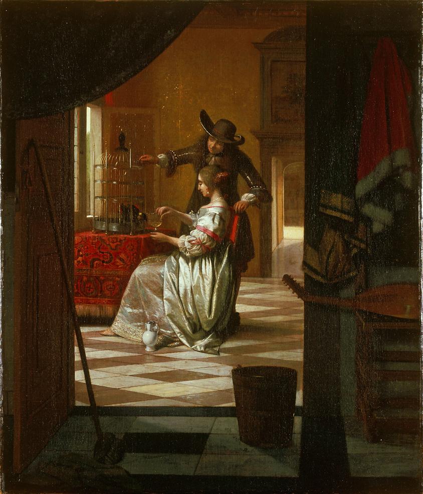 Pieter de Hooch Couple avec perroquet
