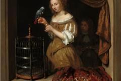 Caspar Netscher Femme au perroquet