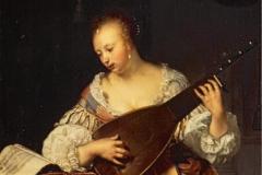 Frans van Mieris La joueuse de théorbe