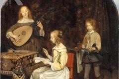 Gerard ter Borch Deux jeunes musiciennes servies par un page
