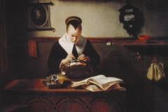 Nicolaes Maes Jeune femme à sa dentelle
