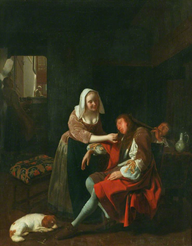 """Jacob Ocktervelt """"Le cavalier endormi"""""""