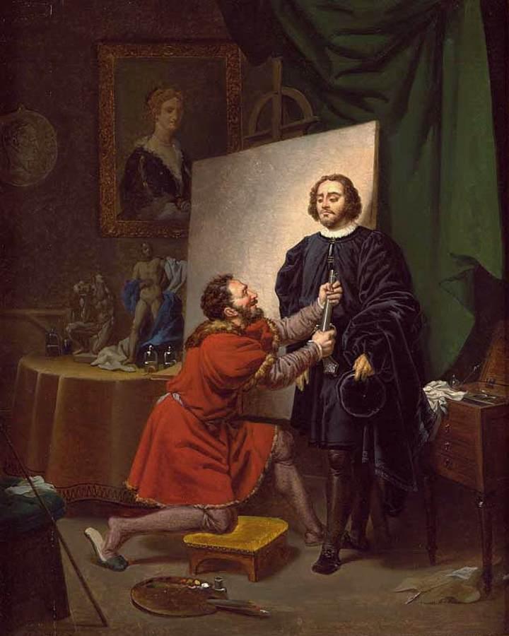 """Pierre-Nolasque Bergeret """"L'Arétin dans l'atelier du Tintoret"""""""