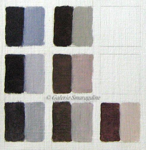 Obtenus par couple de complémentaires + blanc.-->1er rang Bleu/Orange a) Outremer+Ocre rouge b) Cobalt+sienne brûlée-->2eme rang Rouge/Vert a) Alizarine+Emeraudeb) Magenta+Vert oxyde de chrome-->3eme rang Jaune/violeta) Jaune citron+Violet d'outremerb) Ocre jaune+violet d'outremer(PV15)c) Jaune citron+Violet dioxazine(PV23)