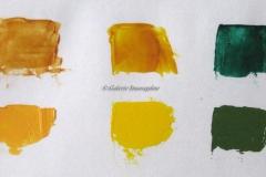 De gauche à droite : sienne naturelle, auréoline, émeraude, ocre jaune, jaune cadmium, vert oxyde de chrome