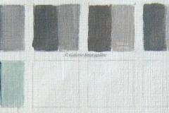 De gauche à droite : 1Noir de Mars (PBk11) 2Noir de vigne (PBk8) 3Terre de Cassel(PBr7) 4Noir d'ivoire(PBk9) 5Noir de Pérylène(PBk31)