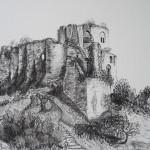 château Gaillard, Les Andelys, dessin fusain