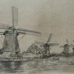 Kinderdijk,Pays-Bas,moulin, dessin