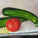 alla prima, daily painting,nature morte,tomate,courgette