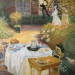 copie peinture classique, techniques anciennes,copie Monet, copie déjeuner Monet