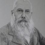 portrait Monet, dessin fusain