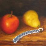 nature morte,peinture,pomme,poire,scoubidou
