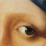 détail de la jeune fille à la perle ; sur MDF 22x8