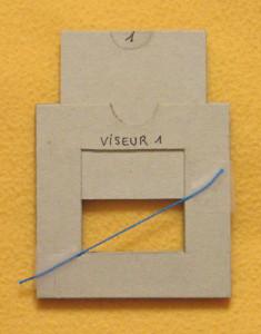 Premier choix de cadrage du sujet avec le viseur : repère en bleu de la diagonale du rectangle d'ouverture