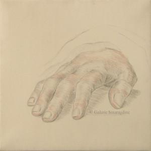 dessin, Étude de main d'après Holbein, Pointe d'argent