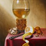 copie peinture classique, techniques anciennes,nature morte citron, stomme, peinture verre flamand