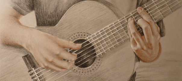 mains guitariste, dessin mains