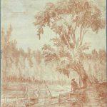Hubert Robert,sanguine,pëcheurs, promeneurs, rivière