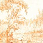 hubert robert, couple pêcheurs, promeneurs, bord rivière, La Marne