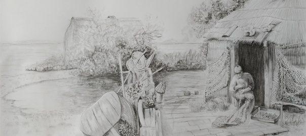 dessin,graphite,Marano,pêcheur, hutte,barque